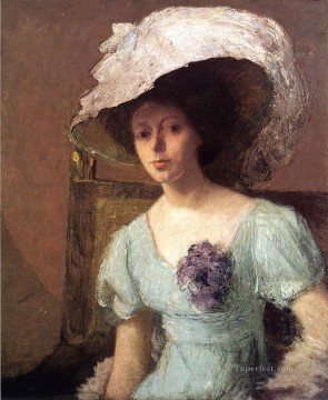 Julian Alden Weir Painting - The Blue Gown Julian Alden Weir